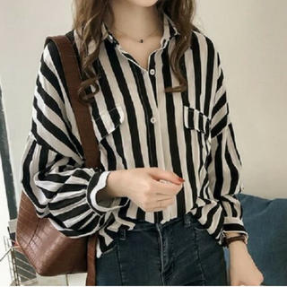 XL ブラック 長袖シャツ ブラウス ストライプ ボリューム袖 縦縞 シフォン(シャツ/ブラウス(長袖/七分))