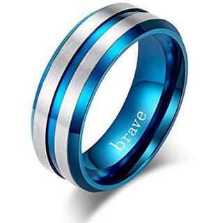 brave リング メンズ チタン 指輪 ファッション アクセサリー ブルー