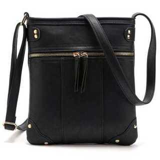 ショルダー バッグ 鞄 ブラック 斜め掛け ファスナー シンプル PUレザー(ショルダーバッグ)