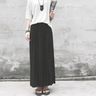 ブラック プリーツ スカート  ハイウエスト 美脚 体型カバー ロングスカート (ロングスカート)