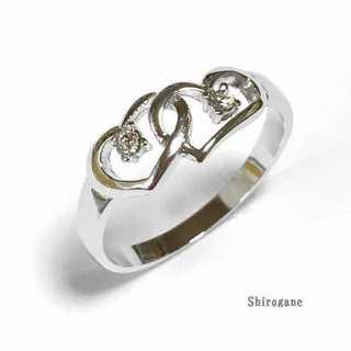 ダブルハート デザインリング シルバー 指輪 スワロフスキー使用(リング(指輪))