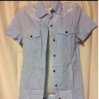 レディース シャツ 水色 レース ブルー かわいい レースシャツ 美品(Tシャツ(半袖/袖なし))