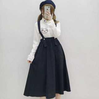 【送料無料】ジャンパースカートシャツ2点セット レディース夏 人気Mz173(ロングスカート)