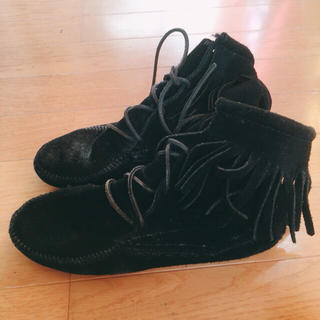 ミネトンカ(Minnetonka)のミネトンカ ショートブーツ ブラック 24cm minnetonka(ブーツ)