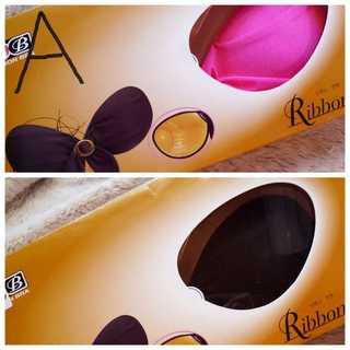 二枚*A*ヌーブラ*リボンブラ*黒&ピンク(ヌーブラ)