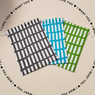 巾着袋★グレー&グリーン★北欧調の四角のセット(外出用品)