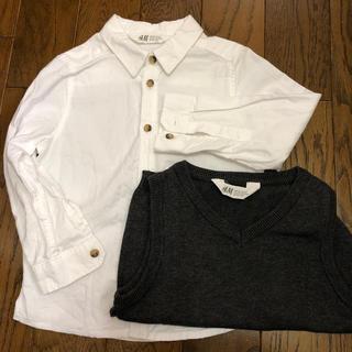 エイチアンドエム(H&M)の白シャツ グレーニットベスト セット売り(ブラウス)