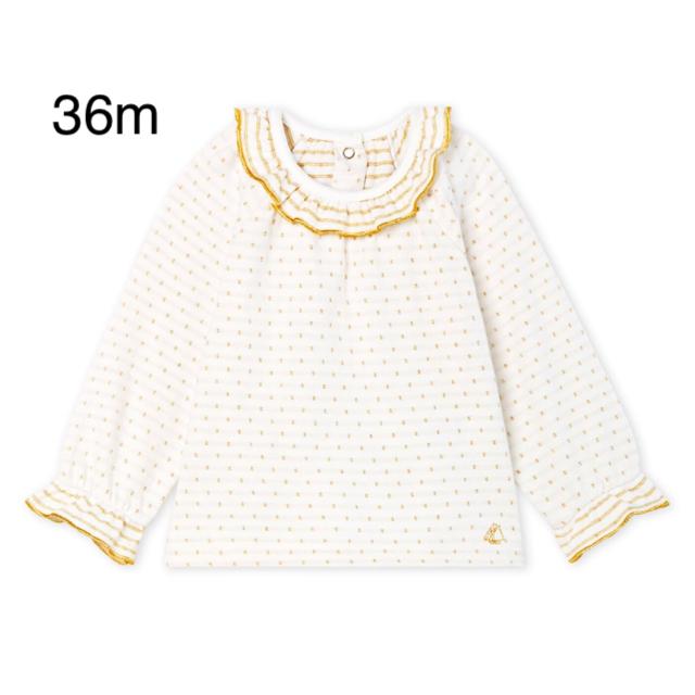 PETIT BATEAU(プチバトー)のプチバトー  チュビックドットブラウス 36m キッズ/ベビー/マタニティのキッズ服女の子用(90cm~)(Tシャツ/カットソー)の商品写真