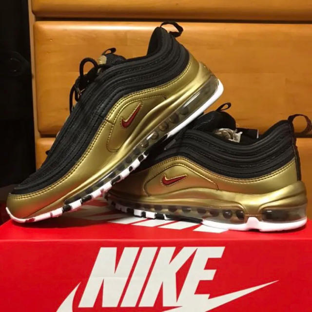 Nike Air Max 97 QS BlackMetallic Gold Varsity Red White For Sale