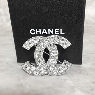 CHANEL - 正規品 シャネル ブローチ シルバー ココマーク ラインストーン 銀 ロゴ 石