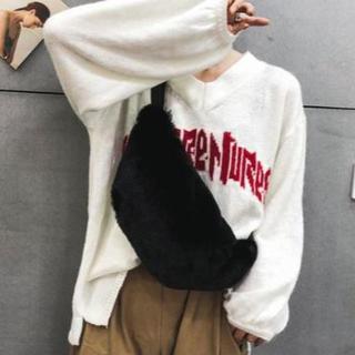 3WAY ボア バッグ ファーバッグ かわいい ウエストポーチ【ブラック】(ボディバッグ/ウエストポーチ)