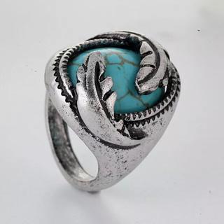 特価!ブルーターコイズ風ストーンのリング 10、11号相当(リング(指輪))