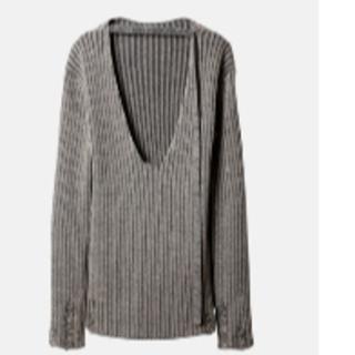 ルシェルブルー(LE CIEL BLEU)の今期完売★アイレネ★Open seam Knit Topsグレー(ニット/セーター)