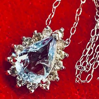 4℃ - 【幸せな結婚に♡新品未使用】プラチナ 900 アクアマリン ダイヤ ネックレス☆