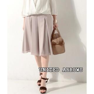 ユナイテッドアローズ(UNITED ARROWS)のユナイテッドアローズ シフォンフレアパンツ スカーチョ クロップドパンツ 美品(クロップドパンツ)