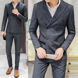 ストライプ スーツジャケット 紳士 ダブルスーツメンズ セットアップzb353(セットアップ)