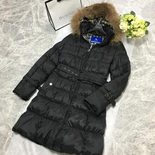 BURBERRY BLUE LABEL - 美品 バーバリー BURBERRY ダウン ベルト付 ロング コート ブラック