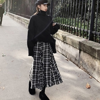 Mila Owen - 【3size】チェック フリンジ スカート + ニット 2点セットアップ