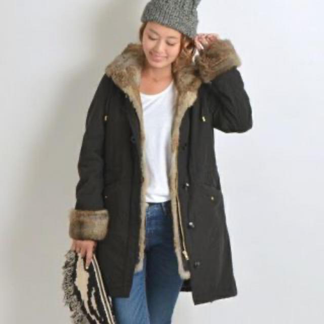SHIPS(シップス)の【SHIPS for women】36ラビットファー付きモッズコート数回着用美品 レディースのジャケット/アウター(モッズコート)の商品写真
