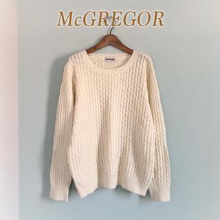マックレガー(McGREGOR)のMcGREGOR◆ハニカム ニット セーター ホワイト 長袖 ウール 美品(ニット/セーター)