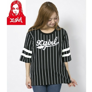 X-girl - 希少☆X-girl STRIPE NUMBER TOP Tシャツ☆