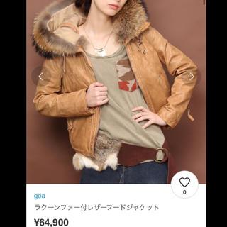 goa - goaラクーンファー付レザーフードジャケットF