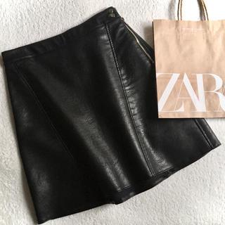 ZARA - XS zaraレザー調コーティングスカート☺︎ブラック