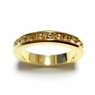 6号 フルエタニティ スワロフスキー ライトコロラドトパーズ  ゴールドリング(リング(指輪))
