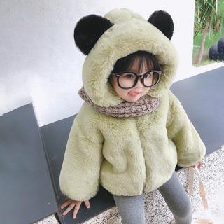 KCBA082冬子供服 裏起毛 厚手  ボアロングコート(2色80-130)