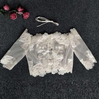ウエディングドレス ホワイト オフショルダー 可憐な花刺繍のトップス ボレロ ト