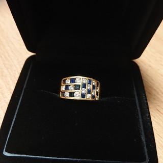 サファイア ダイヤモンド K18 リング 12号(リング(指輪))
