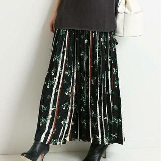 IENA - 新品タグ付 イエナ ドットフラワーロングプリーツスカート◆ブラックA 38
