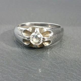 アンティーク風デザイン天然石0.5ct付きプラチナシルバー一粒リング(リング(指輪))