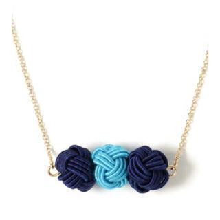 フリフ(ふりふ)の新品‼️カヤ 和風 水引 ネックレス ブルー 水色 着物 君の名は 組紐 浴衣(ネックレス)