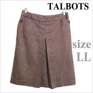 タルボット(TALBOTS)のタルボット◆緑アイボリー系ツイード調膝丈タックスカート◆8◆大きいサイズ(ひざ丈スカート)