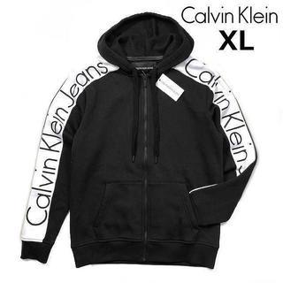 Calvin Klein - カルバンクライン 袖ロゴ ビッグロゴ フルジップパーカー(XL)黒 181214