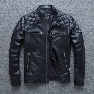 上質牛革 本革 立ち襟 機関車 オートバイク メンズ レザー ジャケット