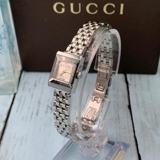 Gucci - Gucci YA128511 スモールスクエア GG柄 シルバー ブレスウォッチ