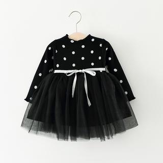 【Xmasに◎】ドット 水玉 リボン チュール ドレス ワンピ  ブラック 90(ワンピース)