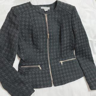 H&M - 千鳥柄 ノーカラー ジャケット