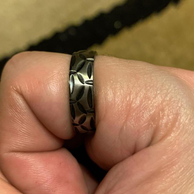 ジオメトリックパターン ステンレス リング 【20号】 メンズのアクセサリー(リング(指輪))の商品写真