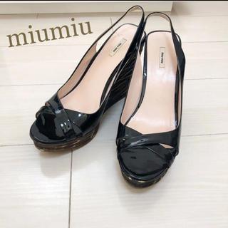 miumiu - 美品!miumiu ミュウミュウ 25.5 イタリア製 ブラック サンダル