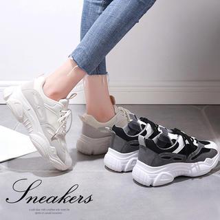 ♥ 厚底 スニーカー レースアップ 運動靴 ランニングシューズ 歩きやすい(スニーカー)