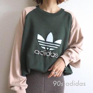 adidas - 90s アディダス トレフォイル 刺繍 ラグラン スウェット トレーナー 古着