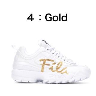 フィラ(FILA)のFILADISRUPTOR2 ホワイトxゴールド(スニーカー)