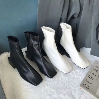 新作全二色 ファッション  スクエアアンクルブーツ 革靴シングルブーツ(ブーツ)