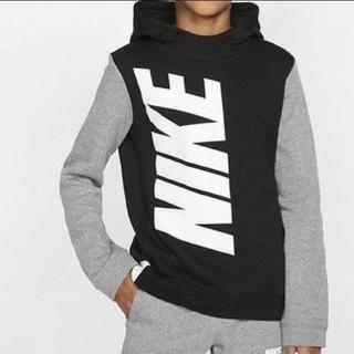 NIKE - ナイキ NIKE 今季新作 でかロゴパーカー160㌢裏起毛 ブラック黒グレー