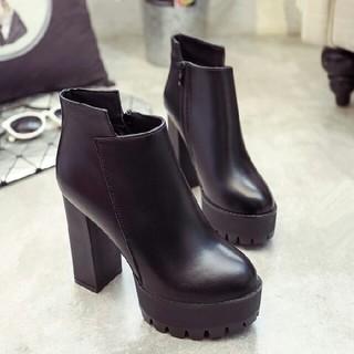 新作 韓国  美脚 ハイヒール 太ヒール ブーツ 革靴
