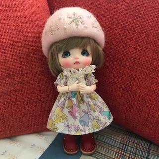 羊毛フェルト 雪華帽子(ピンク)(人形)
