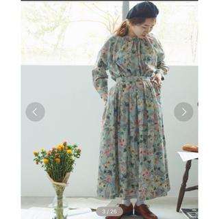 l'atelier du savon - ビエラ譜面とお花 スカート グリーン アトリエドゥサボン